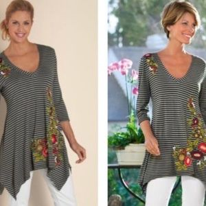 Soft Surroundings Striped Embroidered Tunic L